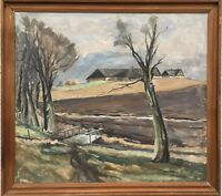 Egon Elnskjold Denmark - Wide Landscape With Gehöft - Oil Painting