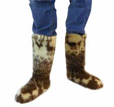 MEN'S SHEEP WOOL SLIPPERS KNEE HIGH TOP BOOTS FELT SHEEPSKIN SNUGGS VALENKI