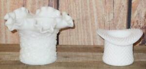 VTG Fenton Westmoreland Milk Glass English Hobnail Daisy Button Top Hat Vase Lot