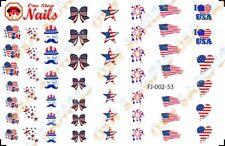 Set of 53pcs - 4th of July I love America Waterslide Nail Art Decals. FJ-002-53