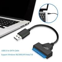 USB 2.0 to SATA 22pin Adapter Converter Cable Wire for 2.5in HDD SSD Hard Drive
