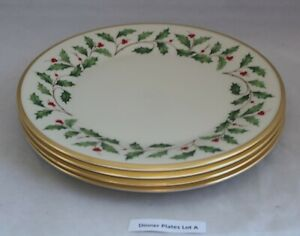 4 Lenox Holiday DINNER PLATES Christmas Holly Gold Trim USA
