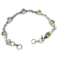 Handcrafted 925 Solid Sterling Silver Comely Genuine Yellow Bracelet Gift UK