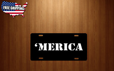'Merica America Murica License Plate Black Aluminum USA