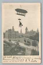 """Dropped Off at Ottawa"" Umbrella Flying Man—Antique Ontario Fantasy 1906"