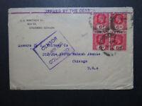 Ceylon 1918 Censor Cover to USA / Improvised Top Censor Tape - Z10804
