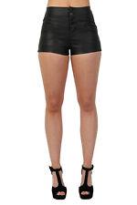 Shorts PU Faux Leather High Waist 4 Button Detail Shorts