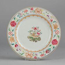 18C Chinese Porcelain Plate Famille Rose Flower Basket Carved
