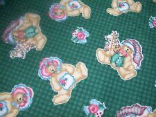 "VTG Daisy Kingdom Ted E Bear Christmas Tossed Bears on Check Flannel Fabric 118"""