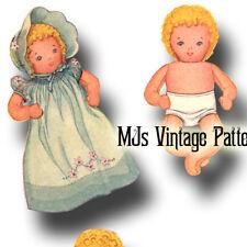 Vintage Pattern ~ Stuffed Baby Doll & Layette: Dress, Bonnet, Romper, Bunting