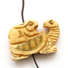 Tibet Bone Lucky Chinese Zodiac Rabbit Long Life Turtle Pendant Bead 2Face