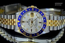 AMAZING MEN'S 2 TONE 18K GOLD & S.STEEL ROLEX GMT MASTER 16753 DIAMOND MOP DIAL