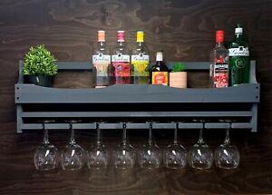 Wine Rack Grey Wooden Gin Shelf Rack - Bottle & 8 Glass Holder Home Bar (8GGR)EL