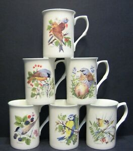6 Set Of Six  Country Birds Fine Bone China Mugs Cups Beakers By Mellor