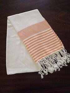 Turkish Cotton & Bamboo Bath Beach Towel Peshtemal Orange Marina Series