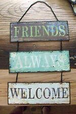 Antique Effect Decorative Triple Hanging Plaque - Friends Always Welcome