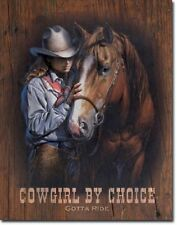 Cowgirl by Choice Western Rodeo Cowboy Rustic Retro Home Decor Metal Tin Sign
