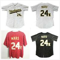 Bruno Mars 24K Hooligans White Pinstriped Baseball Jersey BET Awards Mens