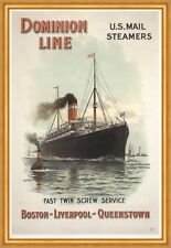 Dominion Line US Mail Steamers Boston Liverpool Queenstown Plakate A2 281