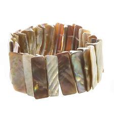 Armband Armreif breit aus Perlmutt Muschel Stückchen beige elastisch black-yard