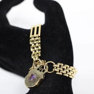 Vtg 9k 375 Yellow Gold Plated Heart Locket Link Bracelet With Amethyst #454