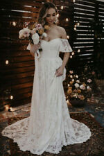 Gorgeous White Off The Shoulder A-Line Lace Boho Wedding Dress, NEW, Size 12