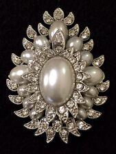 Rhinestone Pearl Wedding Cake Brooch Flower Bouquet Pin Decoration Brooch#57