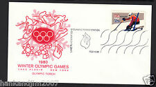 Winter Olympics 1980 Usps Commemorative Envelope & Stamp Olympic Torch Station