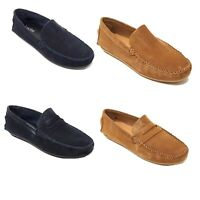 Lucini Moccasin Leather Mens Smart Casual Shoes Suede Driving Slip on Loafers
