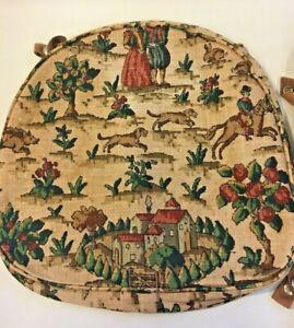 Genuine Ercol Seat Pad Cushion Covers x 6 Hunting Scene Vintage Mid Century