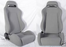 1 Pair Gray Cloth Racing Seats RECLINABLE FIT FOR ALL Nissan