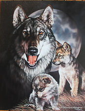 Graham Wolf Tin Sign Wolves Trible Biker Enthusiast Picture Moon