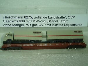 """Fleischmann 8275  """"Rollende Landstraße"""" OVP mit LKW Zug """"Stiebel Eltron"""""""