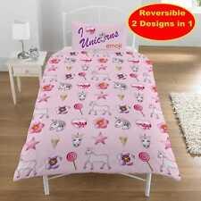 New Emoji Unicorn And Mermaid Design Duvet Quilt Cover Set Girls Bedroom Pink