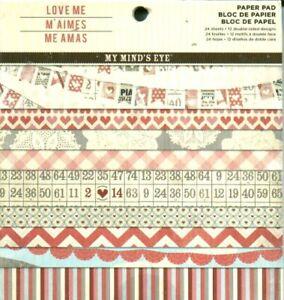 Love Me Pink Red Cream Patterns My Mind's Eye 6 x 6 Paper Pad