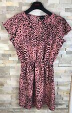 Asos Ladies Size 14 Animal Print Pink Dress