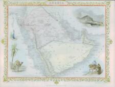 "1850 Original Antique Map ""ARABIA"" Saudi Oman Gulf Dubai TALLIS FULL COLOUR (84)"