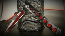 BIG RED MTECH RED AND BLACK STILLETO MILANO SPRING ASSIST POCKET KNIFE  A317RD