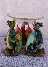 dragon aroma oil burner, 3 colorful dragons made of resin new open boxed