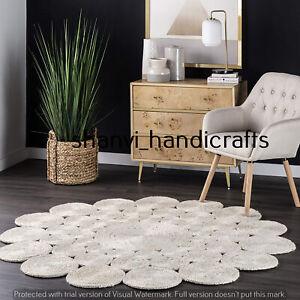 Round Braided Rag Rug Floor Rug Handmade Jute Rug White Colour 3 Feet Carpet Mat
