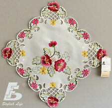 "2x Placemats/ Dolies Embroidered Pink Flowers Square 40cm(16"")Home Decor FFDWY51"
