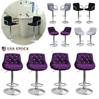 Set Of 4 Flannel Pub Bar Stools Adjustable Swivel Seat Counter Chair Dining USA