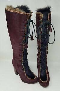 Frye x Anna Sui Collab Calf Hair Runway Boots- Burgundy 7M