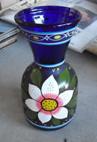 "Vintage Hand Blown Painted Cobalt Blue Glass Art Vase 7 1/2"" Tall"