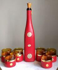 New listing Vintage Mid Century Red Spanish Decanter Set With 6 Glasses Retro Liquor Drink