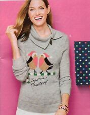 NWT $119 TALBOT'S GRAY HOLIDAY BIRDS SPLIT COWL NECK SWEATER SIZE 2X (= 18W-20W)