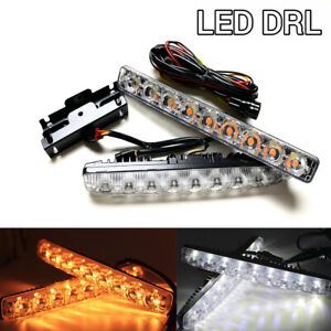 Sequential 9 LED DRL daytime running flow turn signal Switchback amber 6K for Ki