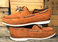 Timberland Boat Shoes Classic 2 Eye Suede Orange White Topsiders Size 10