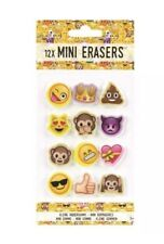 12x Emoji Emoticon Erasers Rubbers Stationery Party Bag Fillers UK SLR
