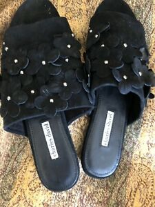 Charls David Women's Shoe Blk Suede Flower Embellished Flat Mules Slides Size 11